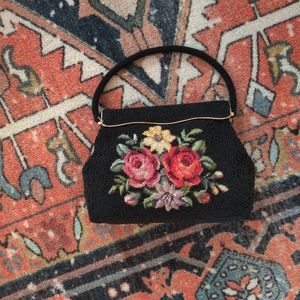 Vintage seed bead purse with embroidered flowers